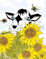 Bella Cow Among Sunflowers