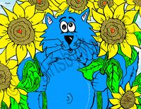 Fat Cat Among Sunflowers