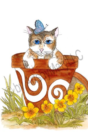 Claire Cat In Flower Pot