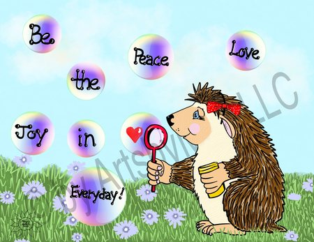 Izzy Hedgehog Peace Love